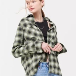 green boyfriend fit flannel